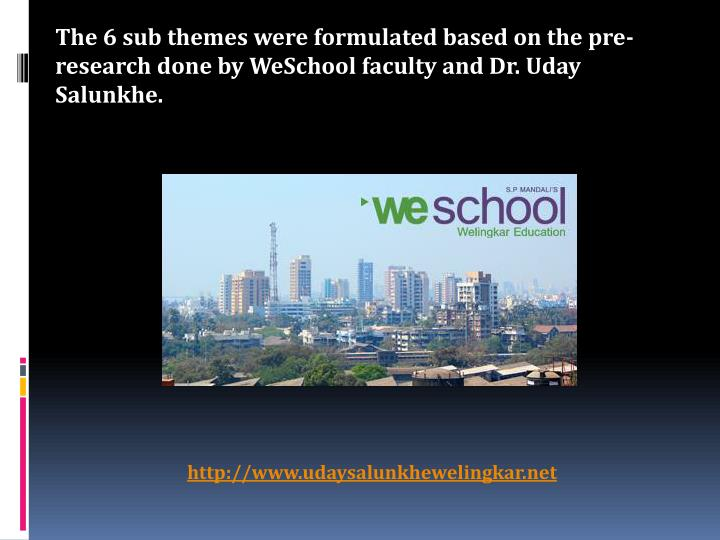 The 6 sub themes were formulated based on the pre-research done by