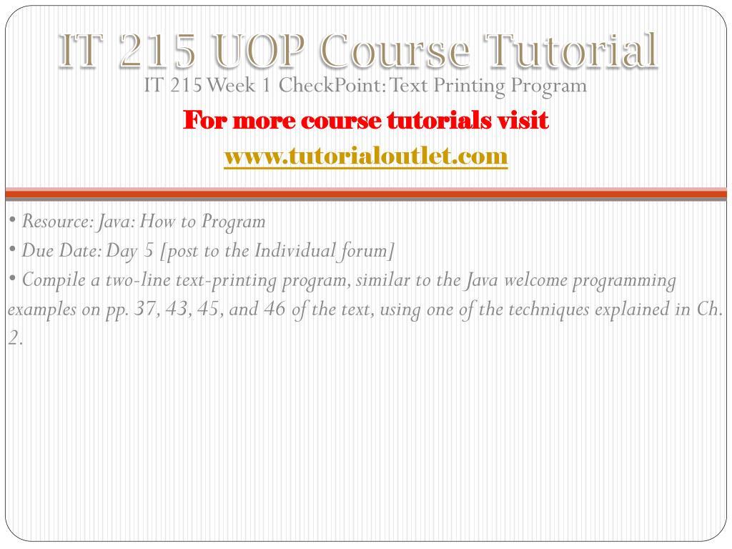 PPT - IT 215 UOP Course Tutorial / Tutorialoutlet PowerPoint