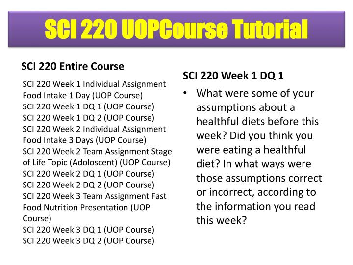 food intake sci 220 Sci 220 week 1 individual assignment health and nutrition worksheet complete the university of phoenix material: nutrition and health worksheet sci 220 week 2 individual assignment food intake – 3 days resources: wileyplus®, and iprofile enter your food intake for 3 full days in iprofile by following the wileyplus® iprofile instructions.