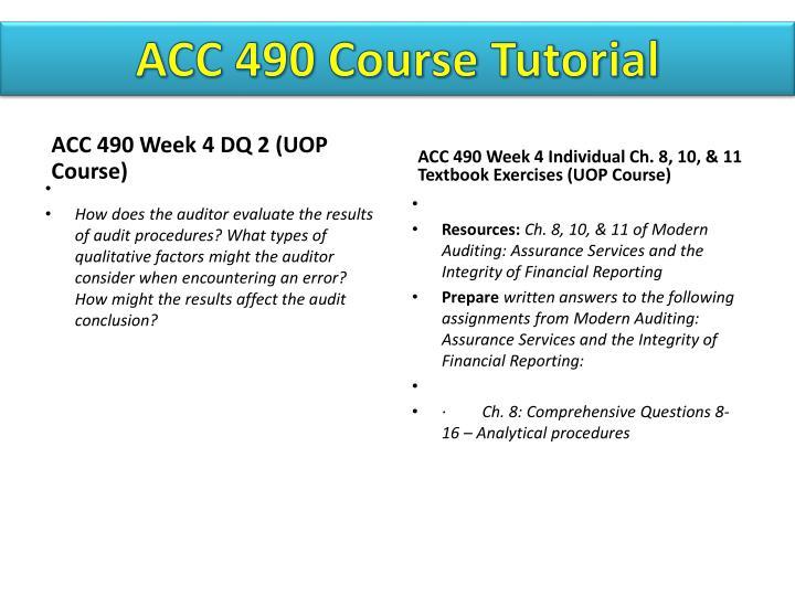 ACC 490 Course Tutorial