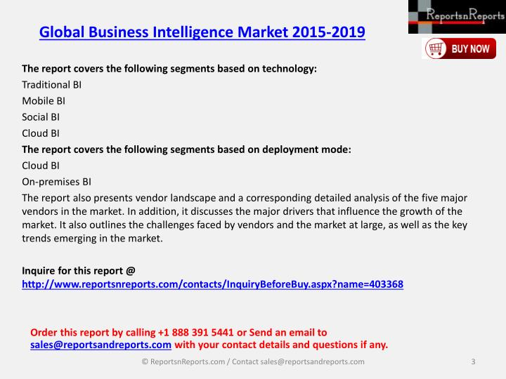 Global business intelligence market 2015 20192
