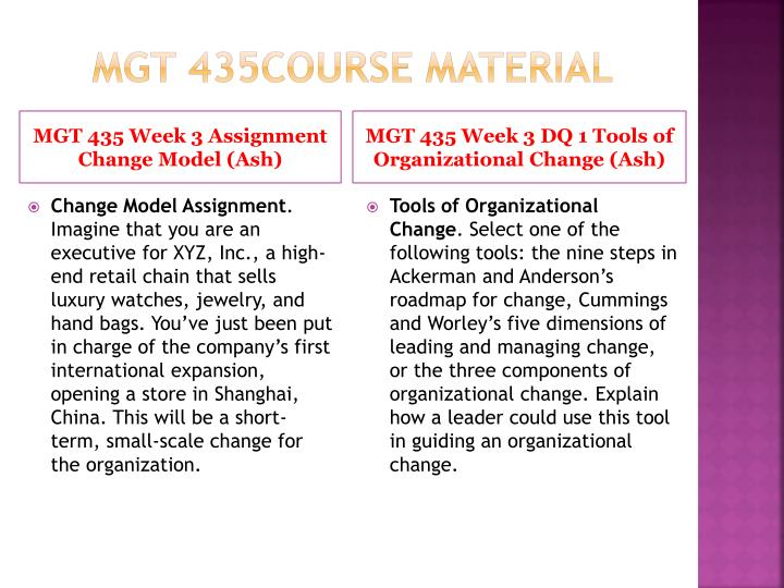 MGT 435Course