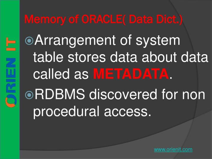 Memory of ORACLE( Data Dict.)