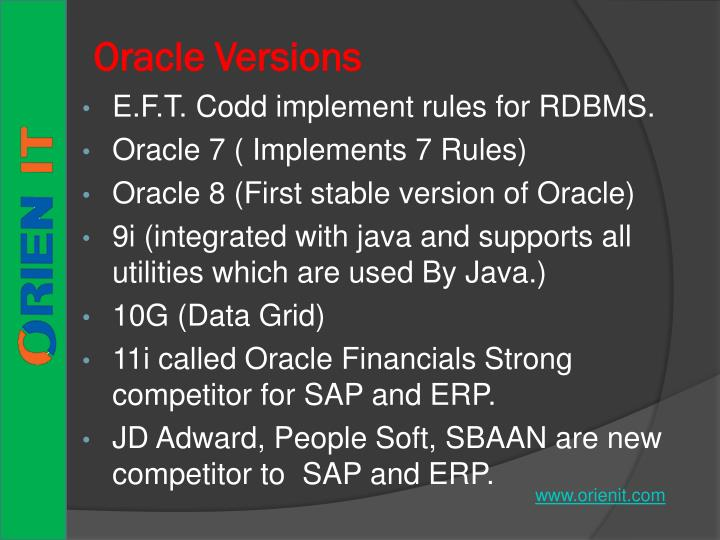 Oracle versions