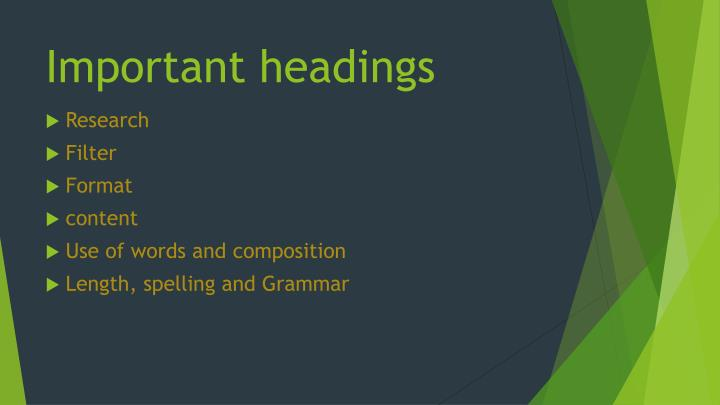 Important headings