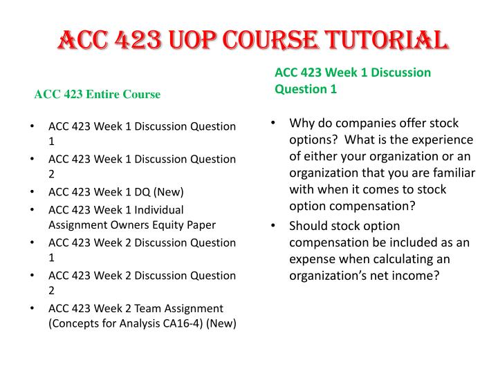 acc 423 owners equity paper Acc 423 entire course for more classes visit wwwacc423martcom acc 423 week 1 individual assignment owners equity paper acc 423.