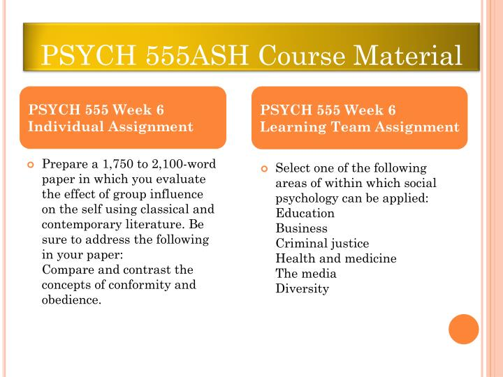 psych 555 week 6 individual assignment Psych 555 week 6 individual assignment influences of conformity and obedience paper for more classes visit wwwpsych555nerdcom.