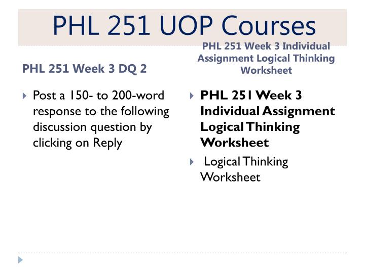 PHL 251 UOP Courses