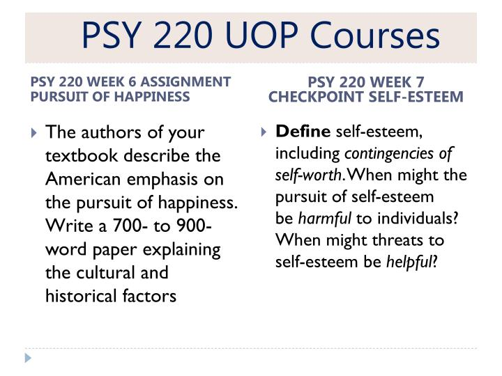 psy 220 week 8 exploring optimism At uoptutorial, we are a group of tutors offering psy 220 final exam study guide bookmark contact psy 220 week 8 assignment exploring optimism latest $400.