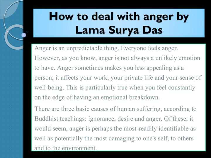 how to deal with anger by lama surya das n.