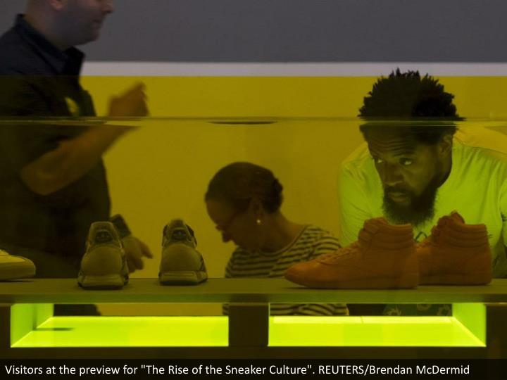 """Visitors at the preview for """"The Rise of the Sneaker Culture"""". REUTERS/Brendan McDermid"""