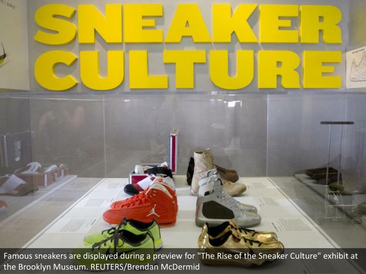 """Famous sneakers are displayed during a preview for """"The Rise of the Sneaker Culture"""" exhibit at the Brooklyn Museum. REUTERS/Brendan McDermid"""