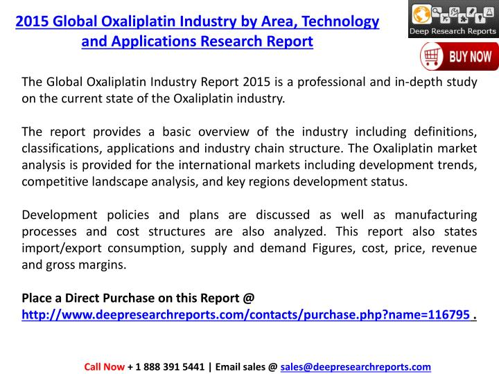 2015 Global Oxaliplatin Industry by Area, Technology and Applications Research Report