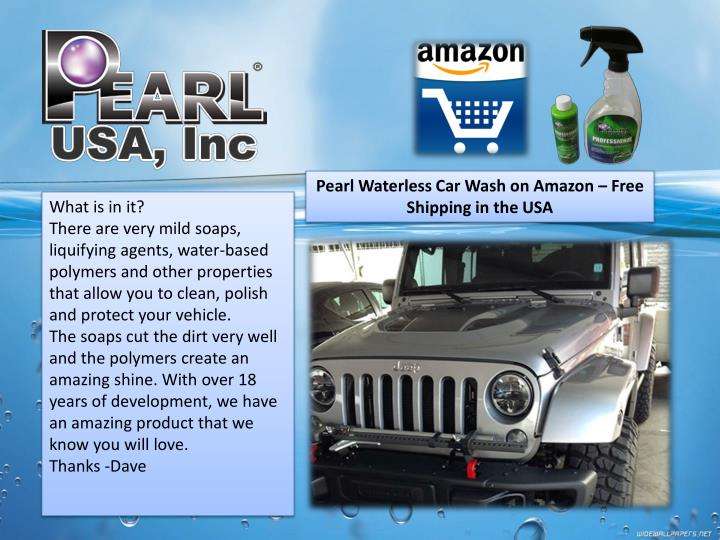 Pearl Waterless Car Wash on Amazon – Free Shipping in the