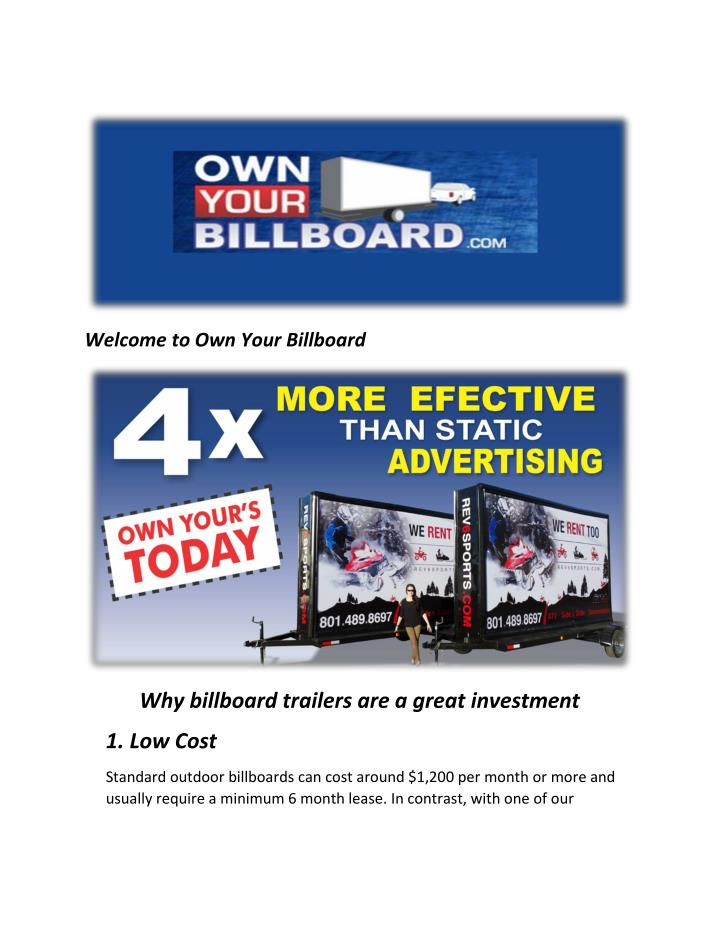 Welcome to Own Your Billboard