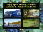 enjoy sport fishing wildlife animals amusement parks