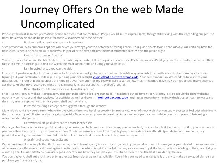 journey offers on the web made uncomplicated n.