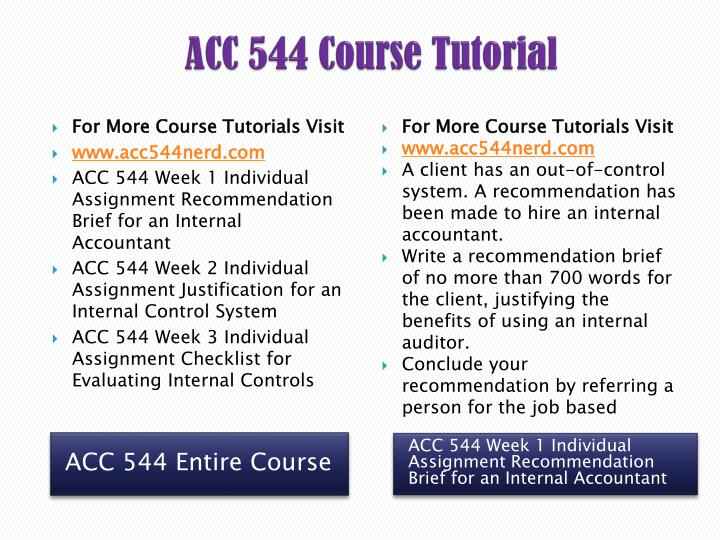 acc 544 week 1 recommendation brief