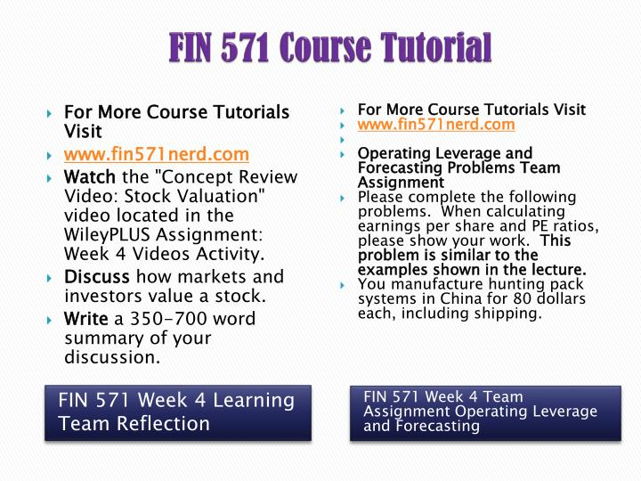 fin 571 concept review video Assignment 1 fin 571 watch the concept review video cost of capital located in wileyplus week 5 videos activity discuss some corporate finance challenges faced by.