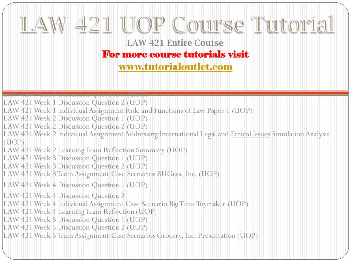 law 421 case scenario Tutorials for question #00004151 categorized under law and general law.