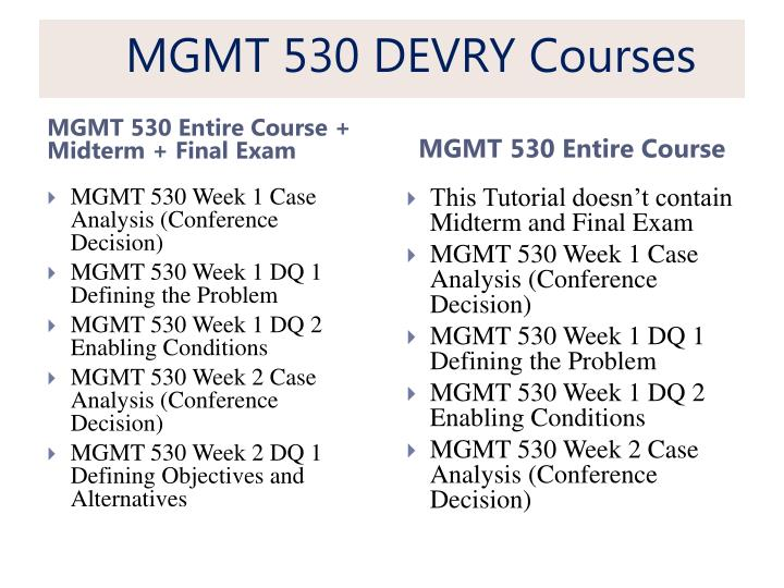 mgmt 530 week 3 case Tutorialrank is a online tutorial store we provides mgmt 530 week 3 case analysis conference decision case, part 2.