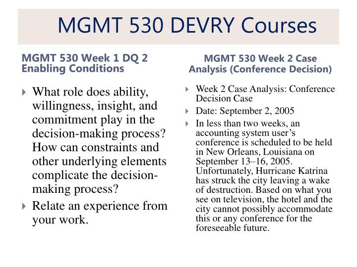 mgmt530 week1 caseanalysis Week 1 case analysis conference decision date september 2 2005 in less than two weeks an accounting system user s is scheduled to be held new orleans louisiana on.