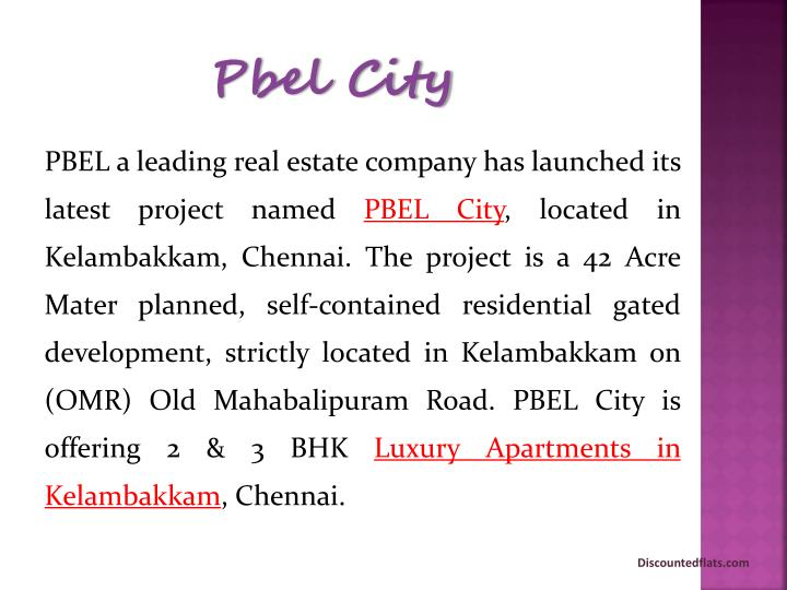 PBEL a leading real estate company has launched its latest project named