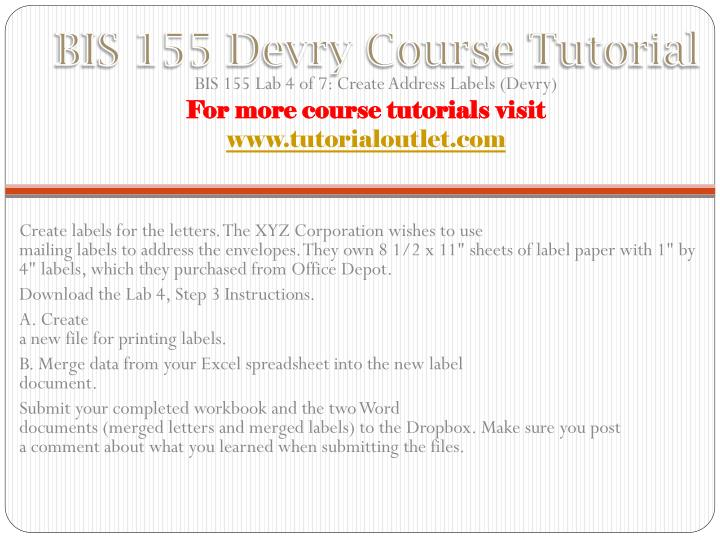 BIS 155 Devry Course