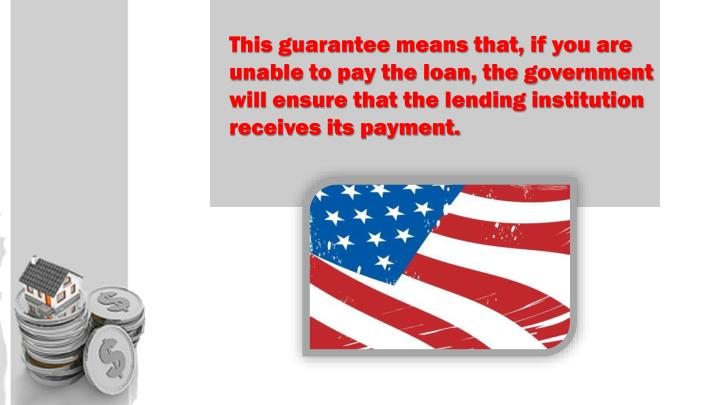 This guarantee means that, if you are unable to pay the loan, the government will ensure that the lending institution receives its payment.