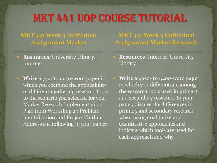 MKT 441 UOP Course Tutorial