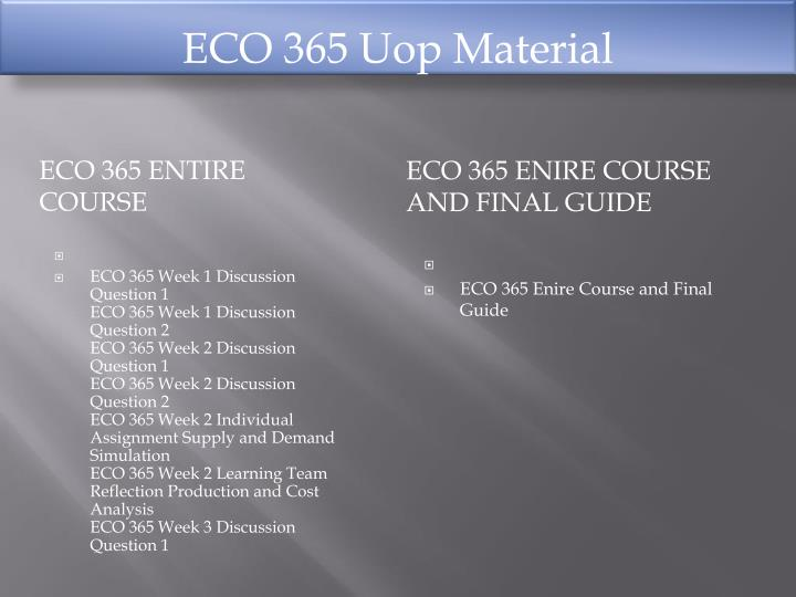 eco365 week 2 simulation essay Our team finished the simulation littlefield simulation report supply and demand simulation paper eco/365 week 2 individual assignment february 25.
