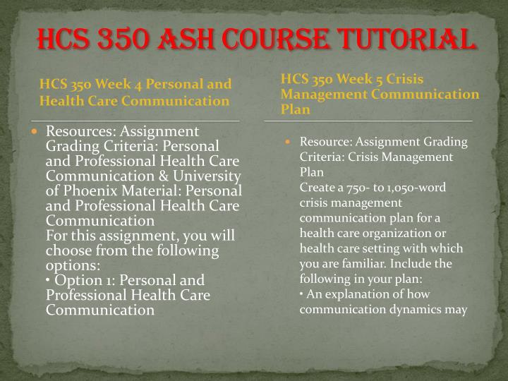 hcs 350 week 5 crisis management
