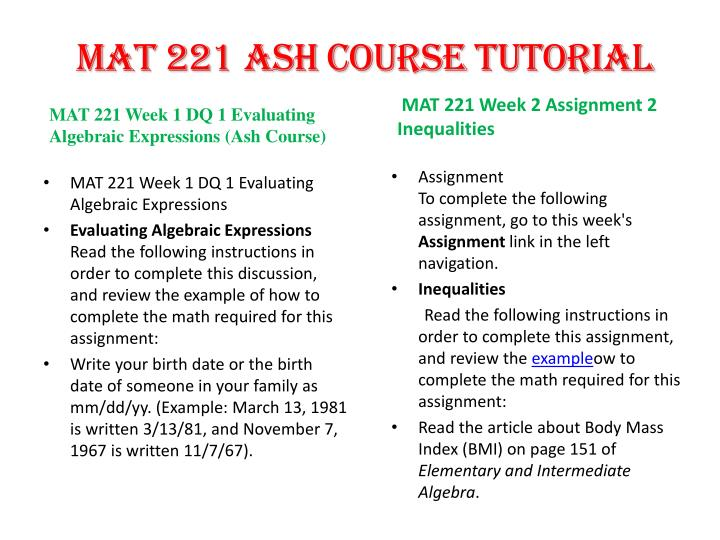 mat 221 week 2 assignment