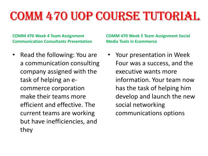 comm 470 communication consultants presentation Comm 470 entire course comm 470 week 5 learning team assignment communication consultants presentationppt comm 470 week 5 learning team assignment communication.