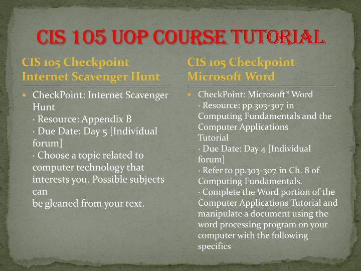 cis 105 internet scavenger hunt appendix b Read this essay on cis 105 entire course  internet scavenger hunt cis 105 checkpoint: computer comparison  3 checkpoint pragmatism and analytic philosophy phi 105 week 4 checkpoint final project preview worksheet appendix b phi 105 week 4 dq1 phi 105 week 4 dq 2 phi 105 week 5 assigment ethical decisions appendix c phi 105 week 5.