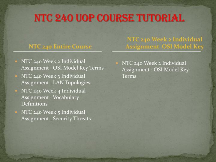 NTC 240 UOP Course Tutorial