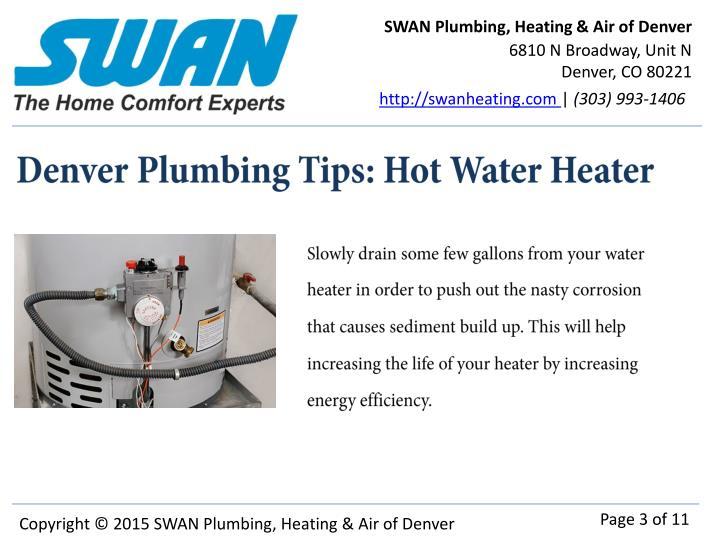 Denver plumbing tips hot water heater