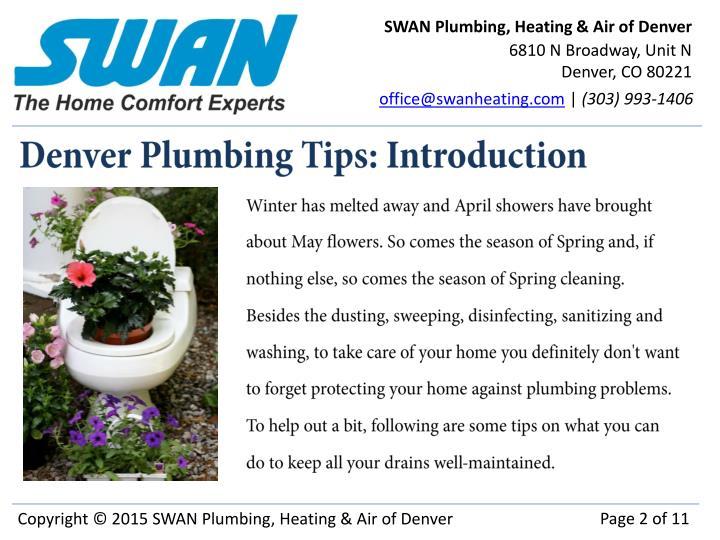 Denver plumbing tips introduction