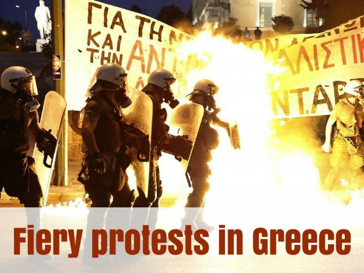 fiery protests in greece n.