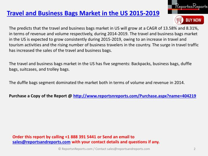 Travel and business bags market in the us 2015 20191