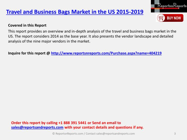 Travel and business bags market in the us 2015 20192