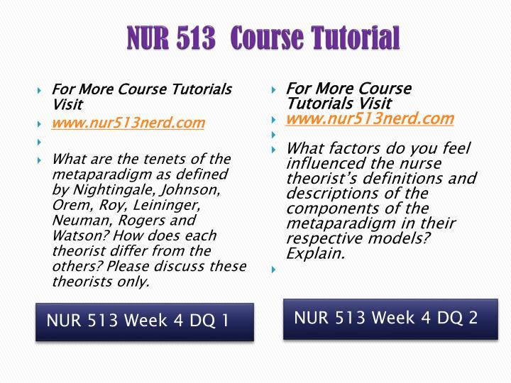 NUR 513  Course Tutorial