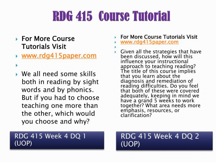 RDG 415  Course Tutorial