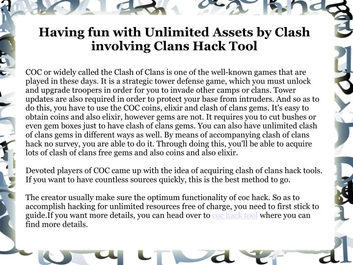 having fun with unlimited assets by clash involving clans hack tool n.