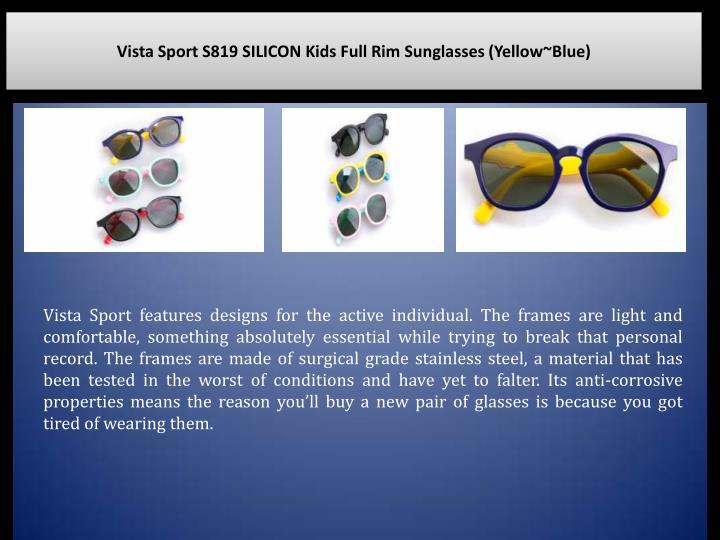 Vista Sport S819 SILICON Kids Full Rim Sunglasses (Yellow~Blue)