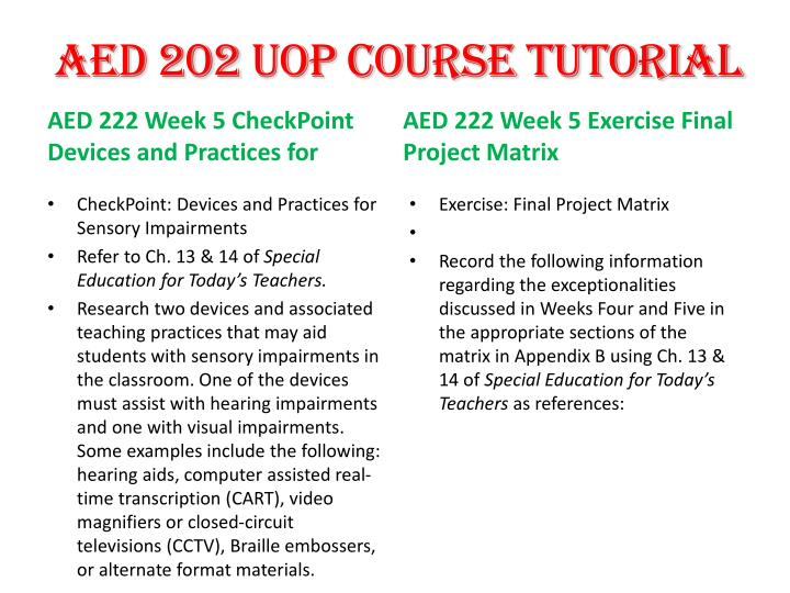 aed 200 final project Aed 222 uop course tutorial friday,  write a 200- to 300-word reflection that  aed 222 week 5 exercise final project matrix aed 222 week 6 checkpointchanneling.