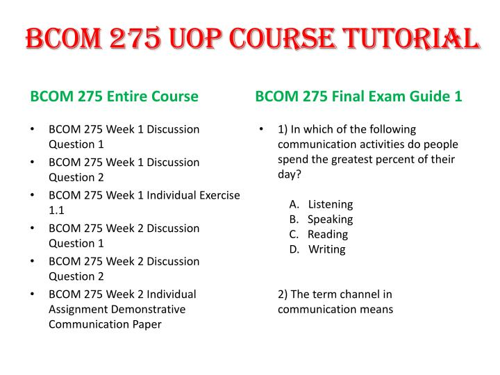 xbcom 275 entire course Bcom 275 week 2 individual assignment demonstrative communication paper write a 700- to 1,050-word paper describing demonstrative communication demonstrative communication includes nonverbal and unwritten communication and involves such things as facial expressions, tone of voice, body language, and so forth.