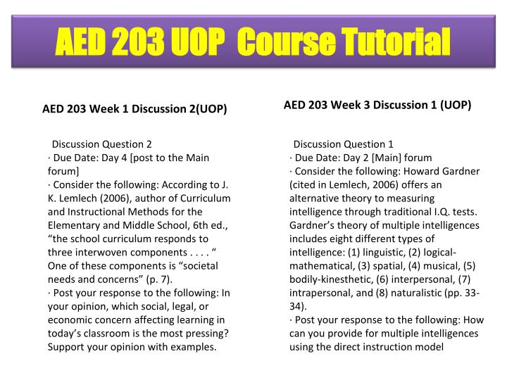 AED 203 Week 1 Discussion 2(UOP)