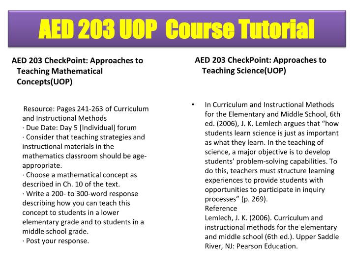 AED 203 CheckPoint: Approaches to Teaching Mathematical Concepts(UOP)