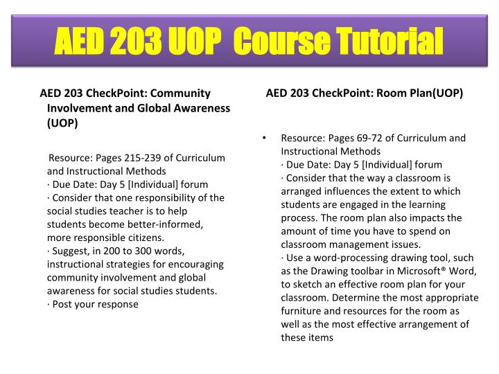 AED 203 CheckPoint: Community Involvement and Global Awareness (UOP)